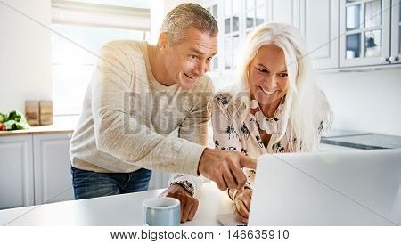 Happy couple with excited expression looking at computer in kitchen with bright sunlight pouring through window