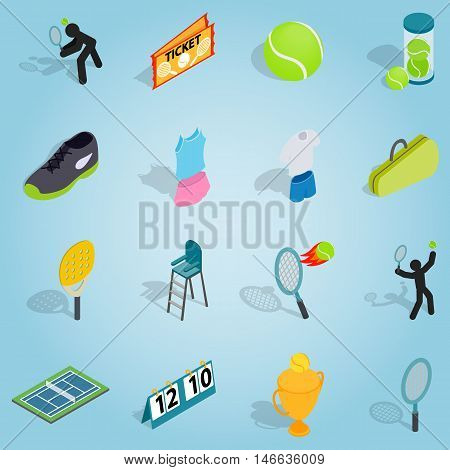 Isometric tennis set icons. Universal tennis icons to use for web and mobile UI, set of basic tennis elements vector illustration
