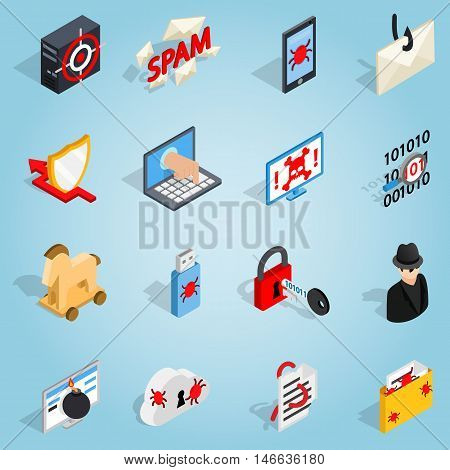 Isometric 3d hacking set icons. Universal hacking icons to use for web and mobile UI, set of basic hacking elements vector illustration