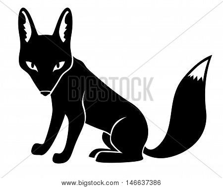 Vector illustrations of silhouette of fox isolated