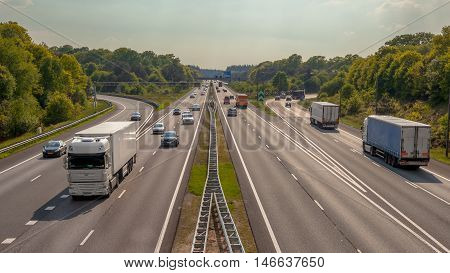 Aerial View Of Trucks And Cars On The A12 Highway