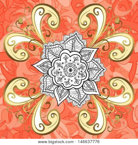 Raster texture with golden floral doodles flowers on round pink and ight red background.