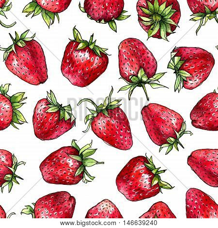 Seamless pattern of watercolor strawberries. Hand drawn illustration.