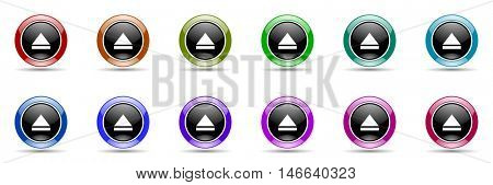 eject round glossy colorful web icon set