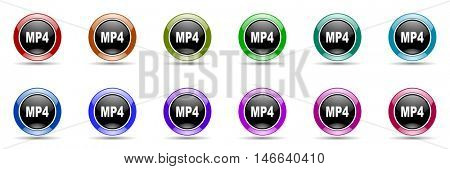 mp4 round glossy colorful web icon set