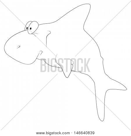 Illustration of a funny cartoon shark on white background