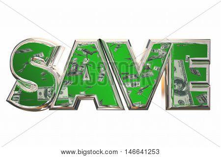 Save Word Money Falling Discount Bargain Deal 3d Illustration