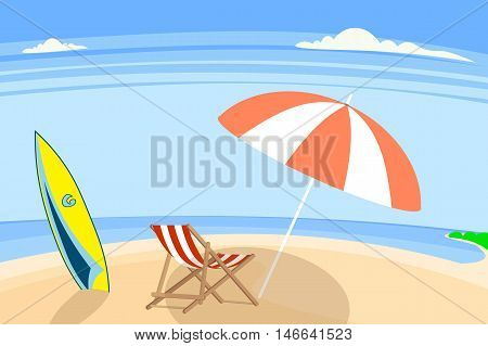 a pebbly or sandy shore especially by the ocean vector illustration