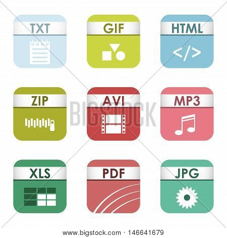 Simple vector square file types and formats labels icon set. File type format icons presentation document symbol. Audio extension file type icons graphic multimedia sign application software folder. poster