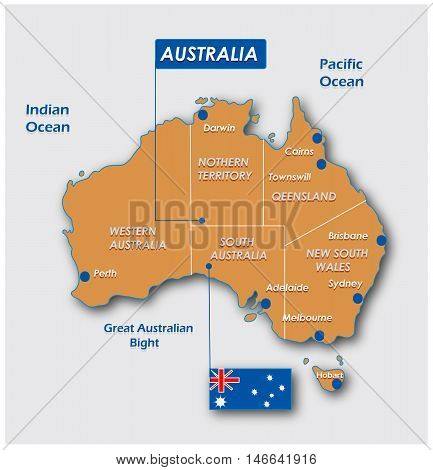 Australia map with flag and administrative division.