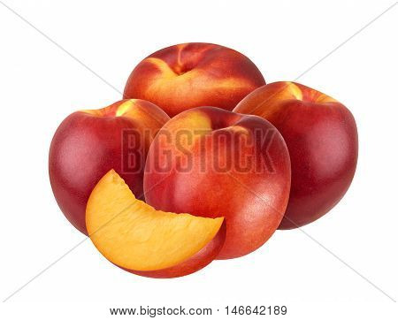 Peach or nectarine isolated on white background cut out clipping path