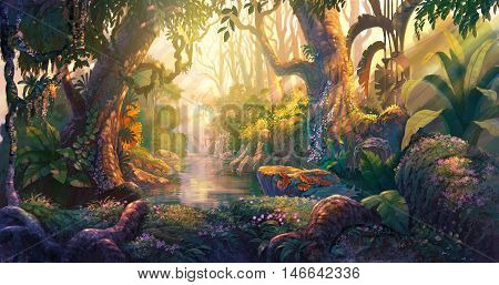 Light sunset in fantasy forest  illustration painting