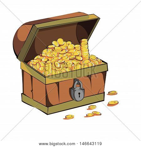 Old coffer with gold coins on a white background. Vector color clip art. Picture for coloring book.