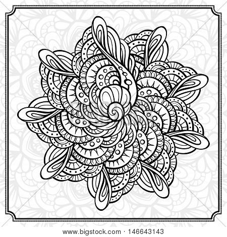 Vector abstract black and white mandala pattern.