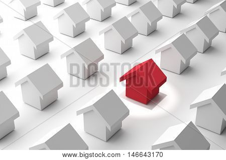 3D rendering : choose your best home,search your home ,real different red estate house,illustration