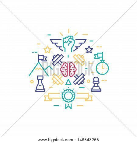 Vector thin line design of personal brain training workflow striving for success self development progress human strategy solution. Modern vector illustration concept isolated on white background