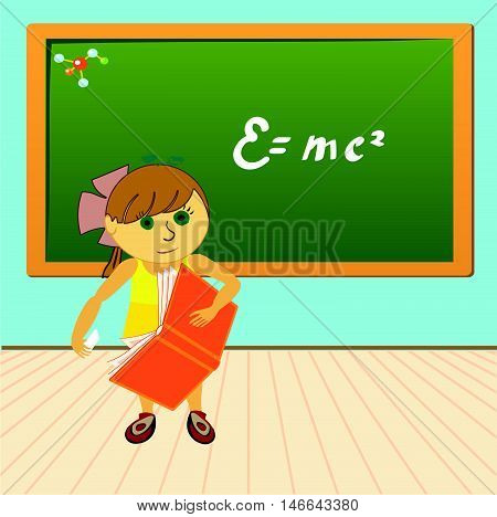 Girl writes with chalk on a blackboard vector illustration