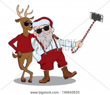 Santa Claus and deer make photo on a white background. Vector humorous illustration.