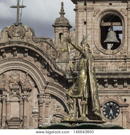 La Compania de Jesus church on Plaza de Armas square in Cuzco Peru. poster