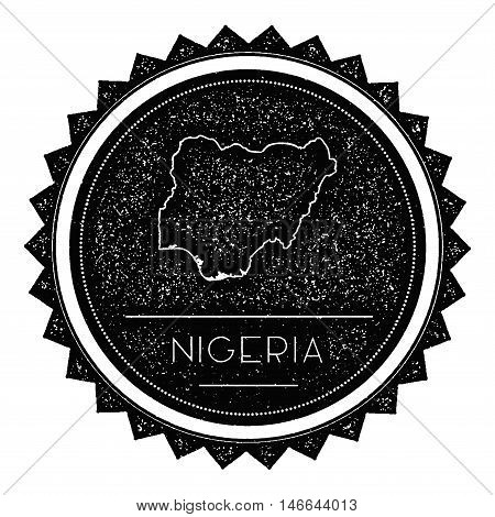 Nigeria Map Label With Retro Vintage Styled Design. Hipster Grungy Nigeria Map Insignia Vector Illus