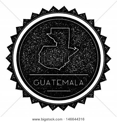 Guatemala Map Label With Retro Vintage Styled Design. Hipster Grungy Guatemala Map Insignia Vector I