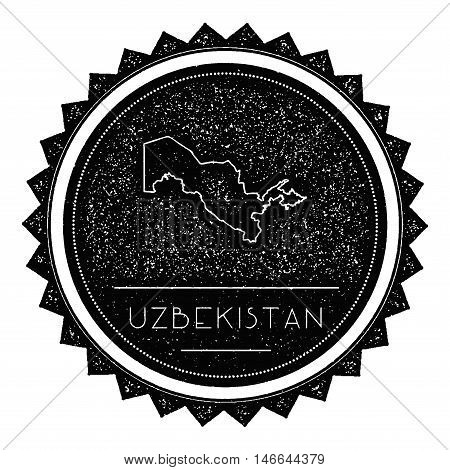 Uzbekistan Map Label With Retro Vintage Styled Design. Hipster Grungy Uzbekistan Map Insignia Vector
