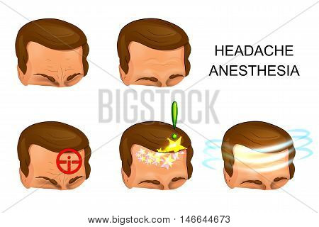illustration of male head pain pain relief. against pain