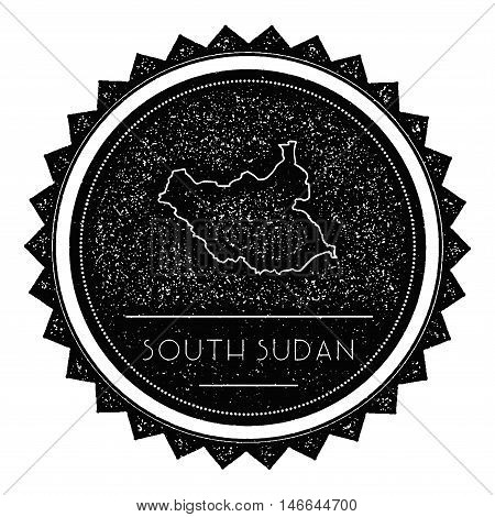 South Sudan Map Label With Retro Vintage Styled Design. Hipster Grungy South Sudan Map Insignia Vect