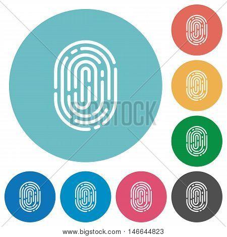 Flat fingerprint icon set on round color background.