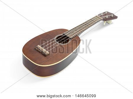 Modern hawaii ukulele guitar isolated against white with four strings