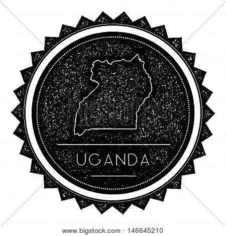 Uganda Map Label With Retro Vintage Styled Design. Hipster Grungy Uganda Map Insignia Vector Illustr