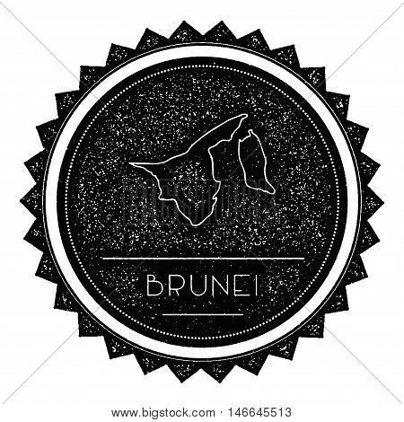 Brunei Darussalam Map Label With Retro Vintage Styled Design. Hipster Grungy Brunei Darussalam Map I