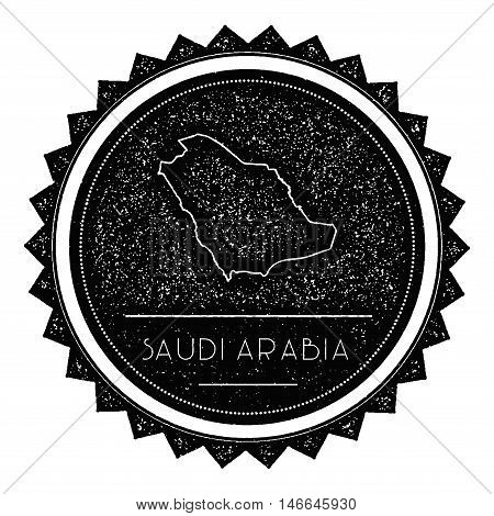 Saudi Arabia Map Label With Retro Vintage Styled Design. Hipster Grungy Saudi Arabia Map Insignia Ve