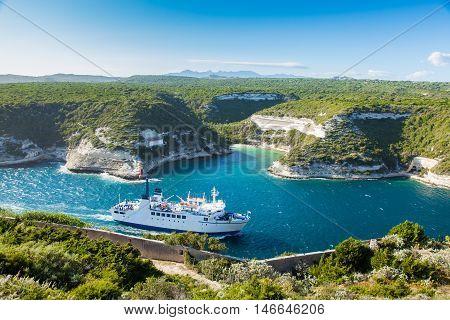 Ferry Boat Entering Bonifacio Port, Corsica Island, France