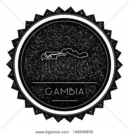 Gambia Map Label With Retro Vintage Styled Design. Hipster Grungy Gambia Map Insignia Vector Illustr