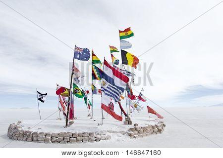 World Flags At Salar De Uyuni (salt Flat), Bolivia