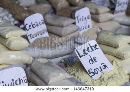 A sack of dry corn at a farmers market in Peru