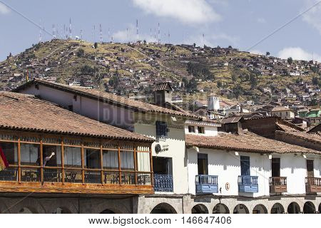 Aerial View Of The Main Square In The Capital Of Incas, Cusco, Peru