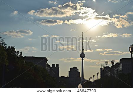 berlin tv tower at evening time in sunlight