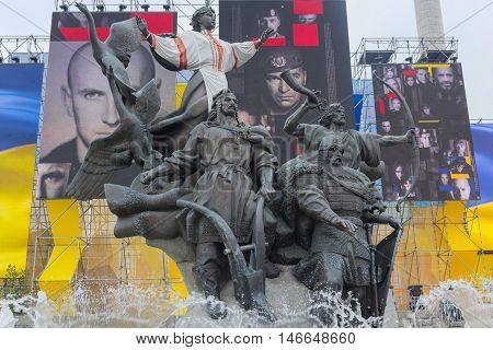 Kiev Ukraine - August 24 2016: Monument of the city's founding and installation with the image of the participants of the antiterrorist operation on Independence Day