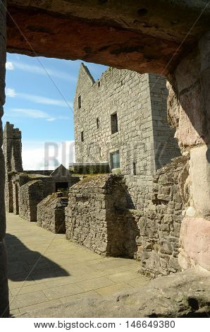 A view along the ramparts of Craigmillar castle