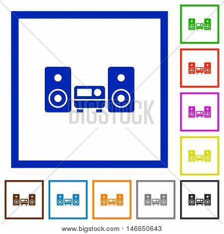 Set of color square framed hifi flat icons