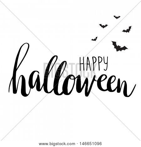 Cute halloween invitation or greeting card template with black bats on hand written lettering phrase Happy Halloween. Can be used for banner, poster and web design