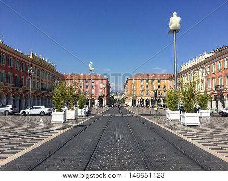 NICE - SEPTEMBER 9: Place Massena on September 9, 2016 in Nice, France.