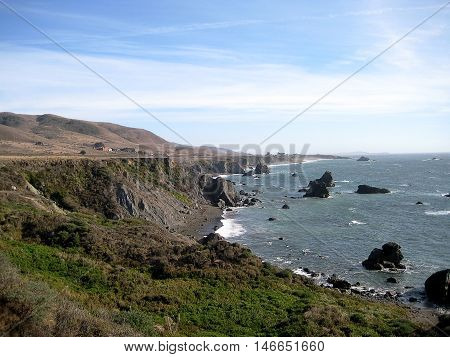 Cliffs and natural vegetation in Sonoma Coast State Park (California)