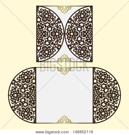Wedding invitation or greeting card with classical ornament.
