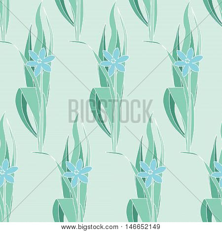 Floral light green seamless pattern in modernist style