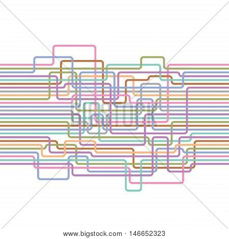 Multicolored lines abstract seamless pattern. Electric wire