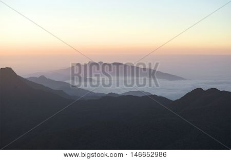 Dawn in the mountain of Ceylon. The view from Adam's peak