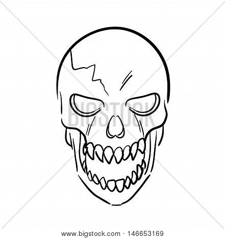 Scary Skull. A hand drawn vector sketch illustration of a scary skull.